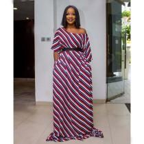 Stripes Short Sleeve Off Shoulder Maxi Dress LS-0256