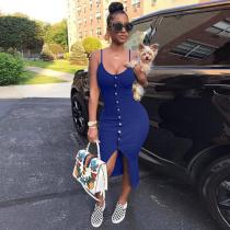 Women Sexy Slim Blue Straps Package Hips Club Dress Plus Size OD-8037