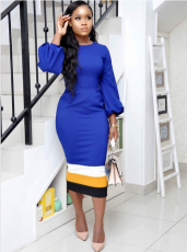 Lantern Sleeve Bodycon Midi Dress OM-1014