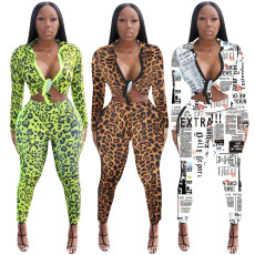 Casual Leopard Print Two Piece Pants Suits TE-3830