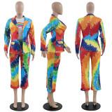 Colorful Tie Dye Print Blazer Cropped Pants 2 Piece Suits PN-6227