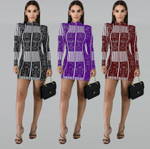 Fashion Pinted Long Sleeve O Neck Mini Dresses KSN-5037