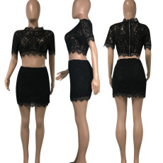 Black Lace Crop Tops And Mini Skirt Set YD-8071