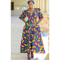 Floral Print V Neck Half Sleeve Maxi Dress CM-555