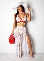 Sexy Crochet Hater Crop Top Tassel Long Skirt Set LA-3112