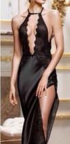 Halter Plunging Neck Black Lace Patchwork Lingerie YQ-066