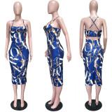 Chain Printed Backless Spaghetti Straps Midi Dress LSL-6242