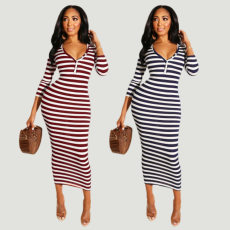 Stripes V Neck Three Quarter Sleeve Slim Long Dress BER-1854