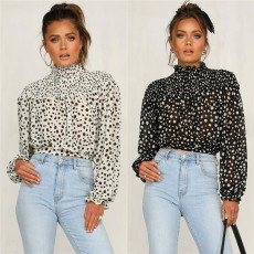 Polka Dot Print High Collar Tie Up Long Sleeve Blouse LSL-6303
