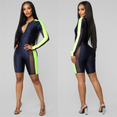 Mesh Patchwork Bodysuit And Shorts Fitness 2 Piece Set LSL-6287