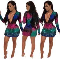 Sexy Deep V Mini Sequins Dress FNN-8172