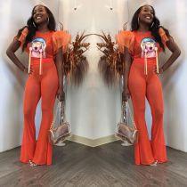 Orange Mesh Patchwork Petal Sleeve Flare Pants Suit PIN-8400