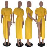 Solid Chiffon Short Sleeve Pleated Irregular Tops LDS-3128