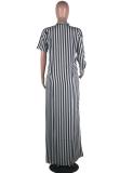 Black Striped Split Loose Long Shirt Dress YN-9002