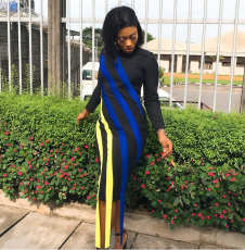 Long Sleeve Patchwork Striped  Midi Dress MK-1012