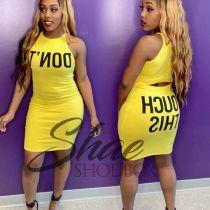 Yellow Letter Print Sleeveless Mini Bodycon Dress YIM-8011