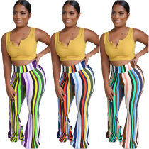 Fashion Colorful Stripes Long Flare Pants LQ-5083