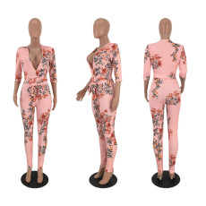 Floral Print Deep V Neck Long Sleeve Skinny Jumpsuit MEI-9002