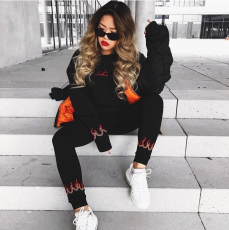 Flame Print Tracksuit Two Piece Set BN-9124