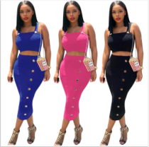 Solid Straps Crop Top Long Skirt Two Piece Sets WZ-8214