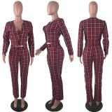 Plaid Print Blazer Long Pants OL Two Piece Suits LP-6178