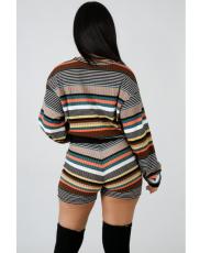 Striped Tops And Skinny Shorts Set LA-3047