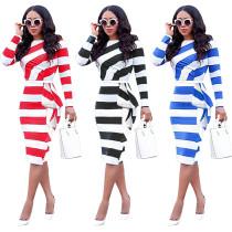 Fashion Stripes Ruffles High Waist Long Sleeve Midi Dress YIS-833