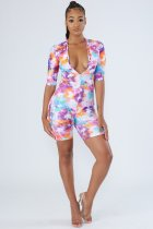 Sexy Printed Deep V Neck Bodycon One Piece Playsuits FSL-018