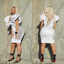 Ruffles Mesh Bodycon White Dress WZ-8081