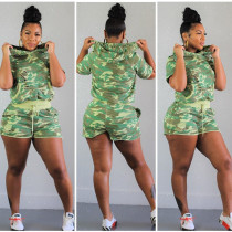 Camouflage Print Hoodies Shorts Tracksuit 2 Piece Set YNB-7002