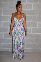 Floral Print Spaghetti Strap High Split Maxi Dress PIN-8284