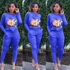 Casual Tracksuit Long Sleeve Two Piece Pants Set OJS-9139