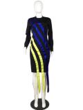 Long Sleeve Patchwork Striped  Midi Dress MK-1012