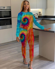 Tie Dye Printed Long Sleeve Casual Two Piece Outfits ORY-5133