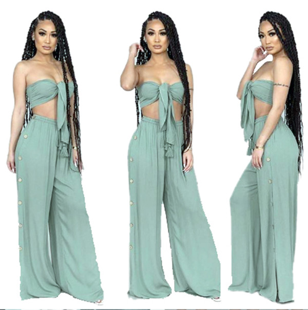 Solid Strapless Buttons Decoration Wide Leg Pants Set YIM-8007