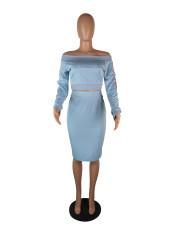 Fashion Slash Neck Long Sleeve Two Piece Skirt Sets HGL-1217