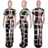 Geometric Print Short Sleeve Long Pants 2 Piece Outfits MYP-8872