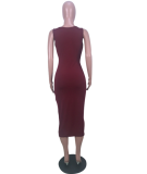 Solid V Neck Bodycon Midi Dress CQ-5090