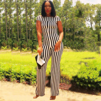 Black White Stripes Short Sleeve One Piece Jumpsuits KSN-5027
