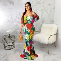 Floral Print Slash Neck Maxi Dresses SMR9218
