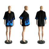 Retro Printed Half Sleeve Button Up Loose Blouse IV-8008