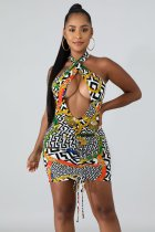 Geometric Print Cut Out Halter Sexy Mini Club Dresses QZX-6075