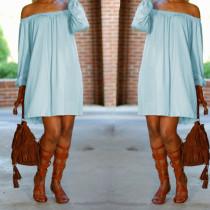 Solid Long Sleeve Slash Neck Mini Dresses BS-1070