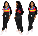 Hot Sale Women Long Sleeves Hooded Two Pieces Sets LSL-6290