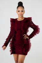 Long Sleeve Ruffles Bodycon Lace Dress LX-3081