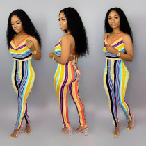Colored Striped V Neck Spaghetti Strap Backless Jumpsuits YD-8095