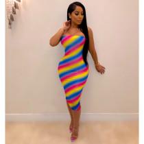Rainbow Stripe Strapless Bodycon Midi Dresses YIS-928