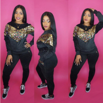 Black Velvet Sequin Tracksuit 2 Piece Set CM-278
