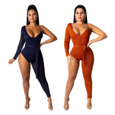 Sexy One Shoulder Asymmetry Bodycon Jumpsuits NIK-041