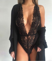 Black Lace Plunging Neck Perspective Lingerie (Without Coat) YQ-228